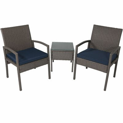 Waller Wicker 3 Piece Rattan Seating Group with Cushions
