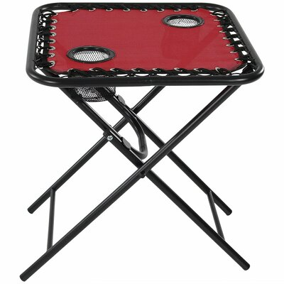 Camille Zero Gravity Folding Side Table Color: Red