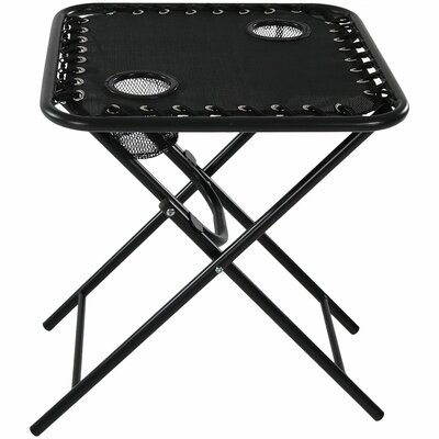 Camille Zero Gravity Folding Side Table Color: Black