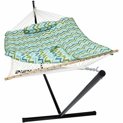 Latitude Run Carrollton Rope Polyester Hammock with Stand Color: Blue/Green Chevron