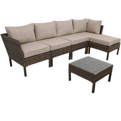 Ager Sectional 6 Piece Rattan Conversation Set with Cushions Cushion Color: Beige