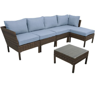 Ager Sectional 6 Piece Rattan Conversation Set with Cushions Cushion Color: Steel Blue