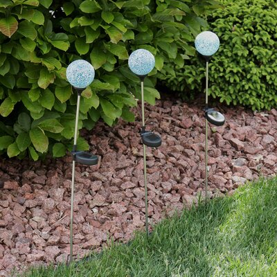 Garbani Mosaic Crackle Glass Decorative Ball Garden Stake Set 37643A7BC7B54FFFA32B65310F449156