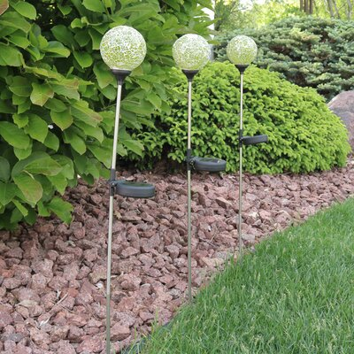 Mosaic Crackle Glass Decorative Ball Garden Stake Set IJF-563