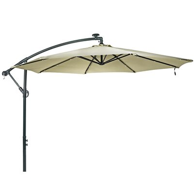 10 Steel Offset Solar LED Illuminated Umbrella Fabric: Beige
