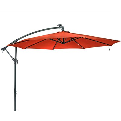 10 Steel Offset Solar LED Illuminated Umbrella Fabric: Burnt Orange