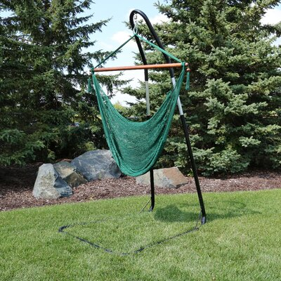 Caribbean Extra Large Chair Hammock with Stand Color: Green