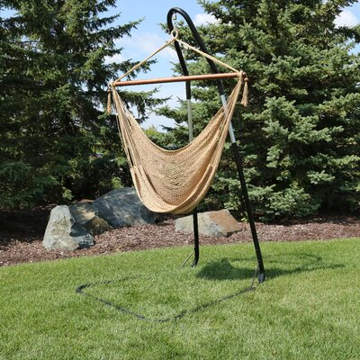 Caribbean Extra Large Chair Hammock with Stand Color: Tan