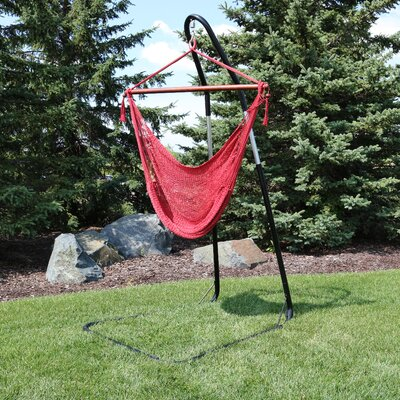 Caribbean Extra Large Chair Hammock with Stand Color: Red