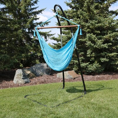 Caribbean Extra Large Chair Hammock with Stand Color: Sky Blue