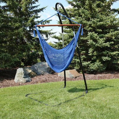 Caribbean Extra Large Chair Hammock with Stand Color: Blue