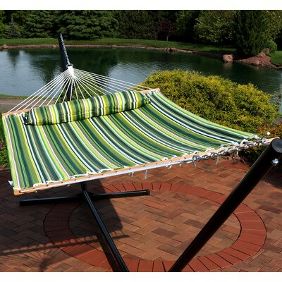 Quilted Double Fabric 2-Person Tree Hammock Color: Melon Stripe