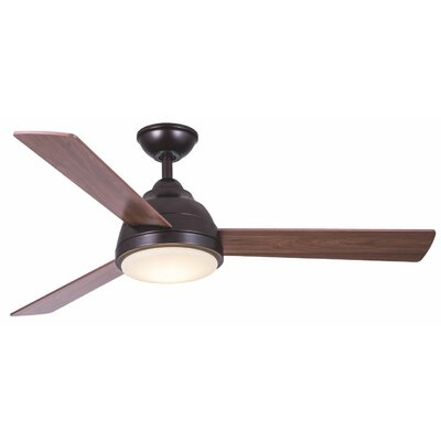 52 Celentano 3 Blade LED Ceiling Fan with Remote Finish: Oiled Bronze with Maple/Walnut Blades