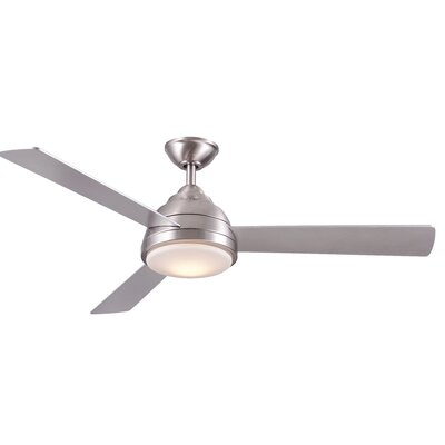 52 Celentano 3 Blade LED Ceiling Fan with Remote Finish: Stainless Steel with Silver Blades