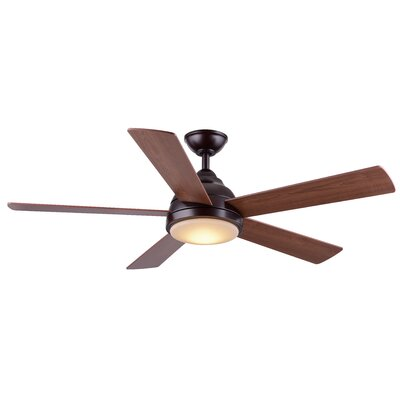 52 Celentano 5 Blade LED Ceiling Fan with Remote Finish: Oiled Bronze with Maple/Walnut Blades