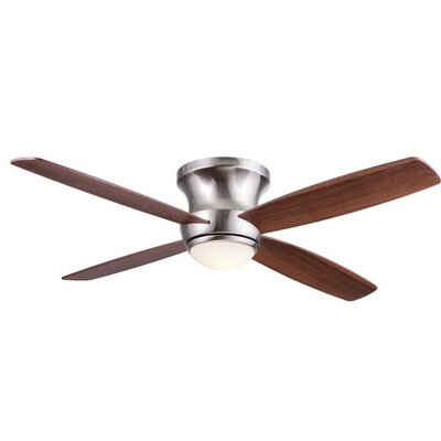 52 Mcdorman 4 Blade LED Ceiling Fan with Remote Finish: Nickel with Maple/Walnut Blades