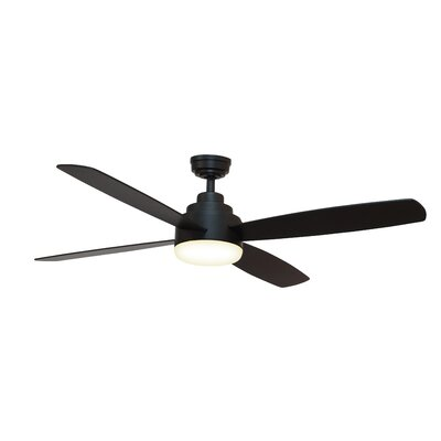 52 Emanuel 4 Blade Ceiling Fan with Remote Finish: Matte Black