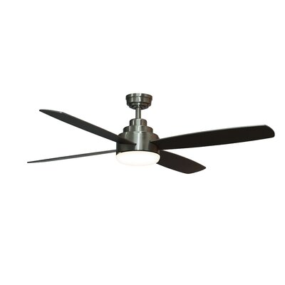 52 Emanuel 4 Blade Ceiling Fan with Remote Finish: Silver
