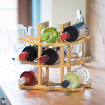 Weinregal für 6 Fl.   Küche und Esszimmer > Küchenregale > Weinregale   Braun   Relaxdays