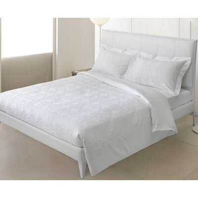Logo 3 Piece Reversible Duvet Cover Set Color: White, Size: Queen