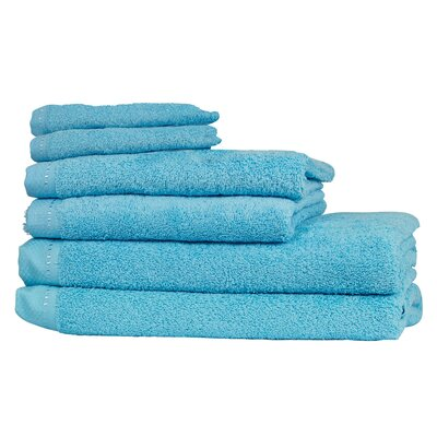 Diamond 6 Piece Towel Set Color: Mediterranean Blue
