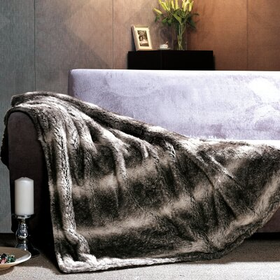 Gray Wolf Faux Fur Throw