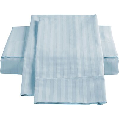 Stripe Sateen 450 Thread Count 100% Cotton Sheet Set Color: Ice Blue, Size: King
