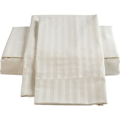 Stripe Sateen 450 Thread Count 100% Cotton Sheet Set Color: Ivory, Size: King