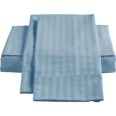 Stripe Sateen 450 Thread Count 100% Cotton Sheet Set Color: Dark Blue, Size: King