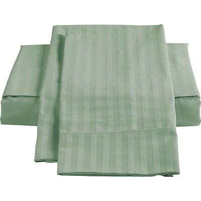 Stripe Sateen 450 Thread Count 100% Cotton Sheet Set Color: Green, Size: Queen