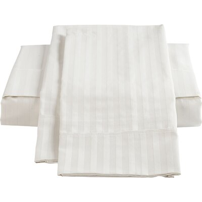 Stripe Sateen 450 Thread Count 100% Cotton Sheet Set Size: Double, Color: White