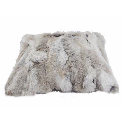 Rectangle Rabbit Fur Lumbar Pillow Color: Gray