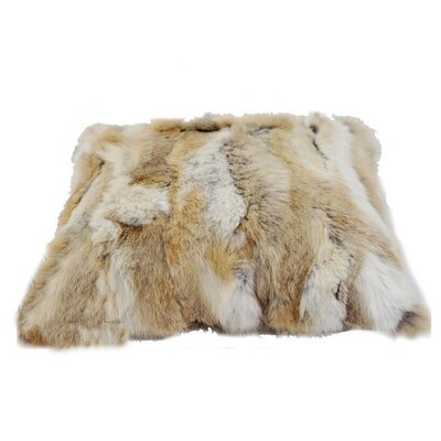 Rectangle Rabbit Fur Lumbar Pillow Color: Brown