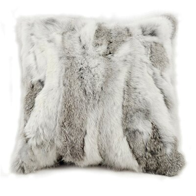 Square Rabbit Fur Throw Pillow Color: Gray