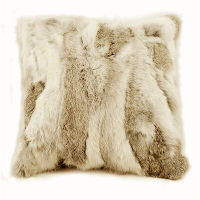 Square Rabbit Fur Throw Pillow Color: Brown