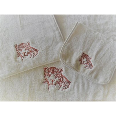 Leopard Embellished Fingertip Towel Color: Ivory