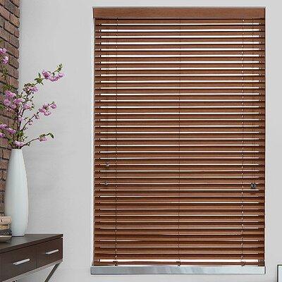 2 Teak Faux Wood Blind Length: 72, Width: 30