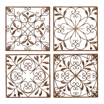 4 Piece Paneled Decorative Metal Scroll Wall Décor Set