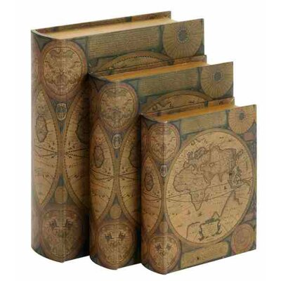 3 Piece Decorative Book Shape Boxes Covered in Appealing World Map Image Set