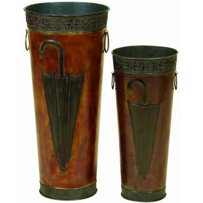 2 Piece Copper Umbrella Stand Set