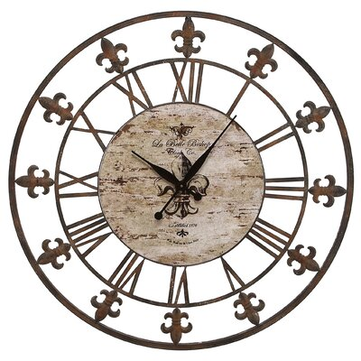 Fleur De Lis 36 Wrought Iron Metal Wall Clock