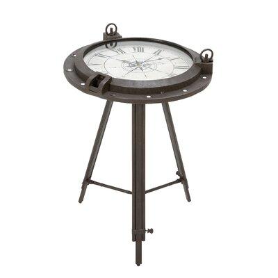 Vintage Porthole Clock End Table