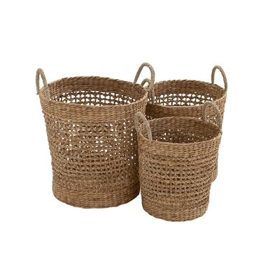 3 Piece Circle Sea Grass Basket Set