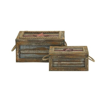 2 Piece Rustic Wood and Rope Box Set