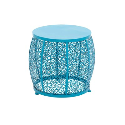Metal Latticed Drum End Table