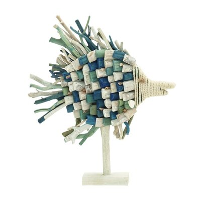Driftwood and Rope Spiked Fish Statue
