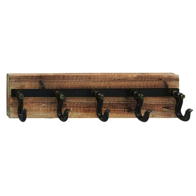 Wood and Iron Wall Hook Rack