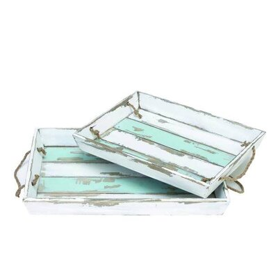 Coastal Living 2 Piece Rustic Wood Striped Tray Set