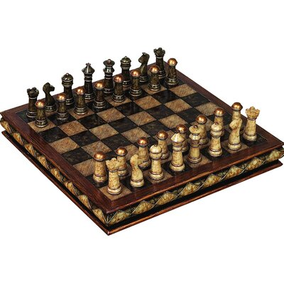 Decorative Antique Marbled Gold Tipped Chess Board