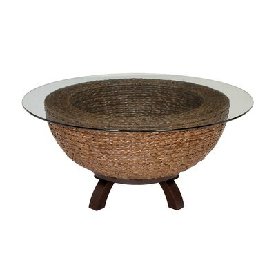 Wicker and Glass Contemporary Coffee Table
